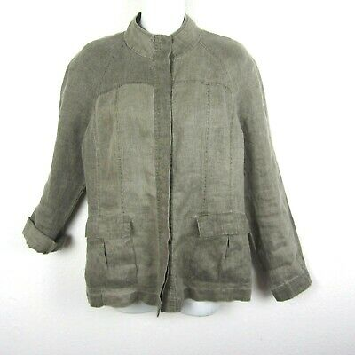 $35 • Buy Eileen Fisher S Olive Green Linen Utility Short Jacket Button Stand Up Collar
