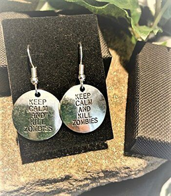 £4.97 • Buy Handmade  Keep Calm And Kill Zombies  Silver Plate Earrings (Pair) Gift Boxed
