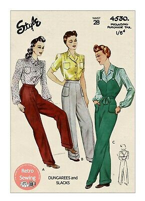£18.99 • Buy 1940s Ladies Wartime Dungarees And Trouser Pattern Waist 28