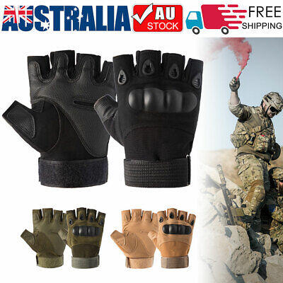 AU13.99 • Buy Hard Knuckle Fingerless Tactical Gloves Half Finger Military Army Combat Hunting