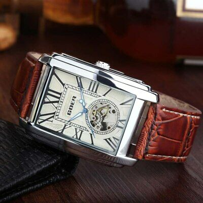 £19.92 • Buy Luxury Automatic Mechanical Men Wrist Watch Leather Band Rectangle Dial Skeleton