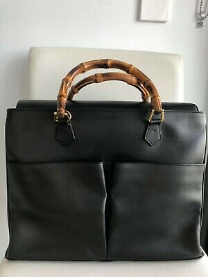 AU380 • Buy Authentic Gucci Bamboo Handle Leather Bag Black