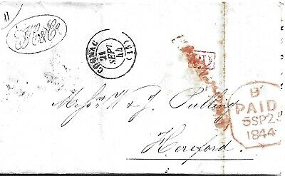 £3.50 • Buy GB 1844 Paid Hennessey Entire From Cognac To Hereford Via Southampton
