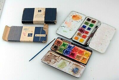£13.50 • Buy TWO DIFFERENT Vintage REEVES Watercolour Paint Box/Tins, One With Palette & No58