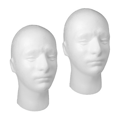 £11.32 • Buy 2x Mannequin Head Polystyrene Male Training For Wigs, Headphones (POLYM)