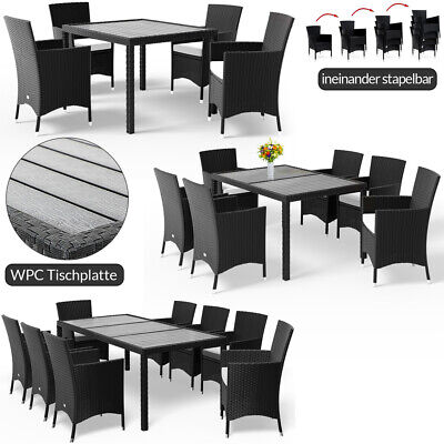 £449.95 • Buy Poly Rattan Garden Dining Table Chairs Set WPC Black Patio Outdoor 4 6 8 Seater
