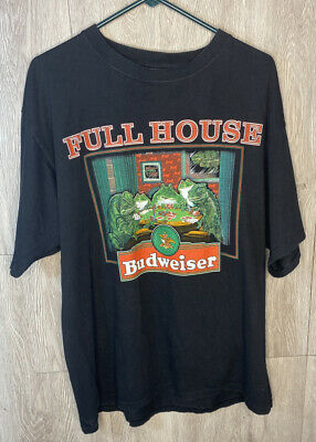 $ CDN43.56 • Buy Vintage 90s Budweiser Frogs Playing Cards Full House Mens T-Shirt Size XL Black
