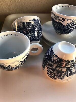 £450 • Buy Illy Cappuccino Cups Set Of 4 Blue And White
