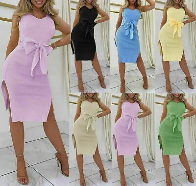 £19.99 • Buy Womens Plain Side Slit Belted Waist Ribbed Fashion Party Midi Dress Colour Block