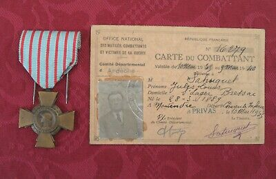 £65 • Buy WWI French Great War Medal &Carte Du Combattant FREEPOST