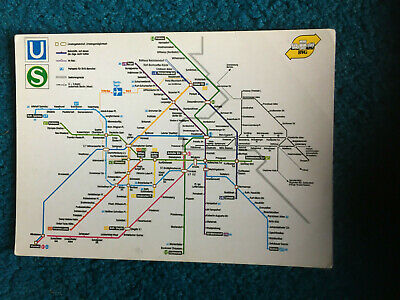 £10 • Buy Berlin Tube Underground Map Showing East And West Vintage Postcard Ca. 1985