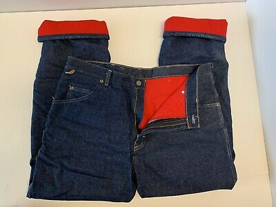 $19.99 • Buy Wrangler Rugged Wear Insulated Red Fleece Lined Jeans Mens 36x30 Winter Work