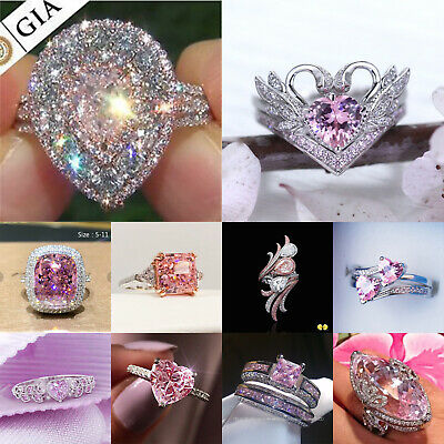 £2.72 • Buy 925 Silver Rings Gorgeous Pink Sapphire Women Wedding Ring Gift Jewelry Sz 6-10