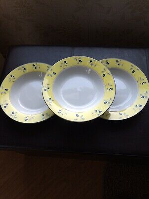 £10 • Buy NEW Boxed Royal Doulton Blueberry 3 X Rimmed Soup Dish.Yellow/Blue/White Pattern