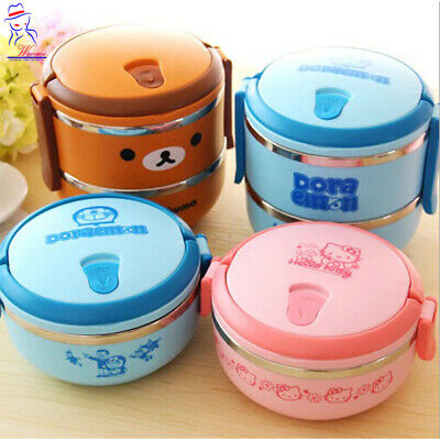 AU33.86 • Buy New 2 Layers Hello Kitty Cartoon Thermal Lunch Box Kids Thermos Food Container