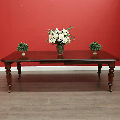 AU1950 • Buy Antique Extension Dining Table, English Mahogany 2 Leaf Extension Dining Table