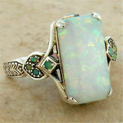 £2.76 • Buy Gorgeous 925 Silver Wedding Rings For Women White Fire Opal Ring Jewelry Sz 6-10