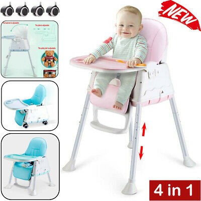 £29.95 • Buy Adjustable 4-In-1 Baby Highchair Infant Feeding Seat Toddler Table Chair + Tray
