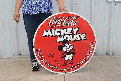 $ CDN259.95 • Buy Large Drink Coca Cola Mickey Mouse Soda Pop Gas Station 30  Porcelain Metal Sign