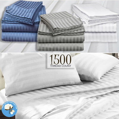 AU99 • Buy 1500TC Striped Egyptian Cotton Sateen Sheet Set Or Doona Quilt Cover - All Size