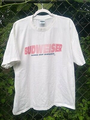 AU28.67 • Buy Vintage 90s Budweiser King Of Beers Spell Out T-shirt Sz XL White Gildan