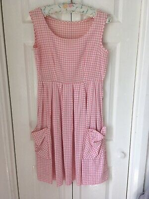 £25 • Buy True Vintage 1950's Gingham Dress Sleeveless Patch Pockets Housewife Goodwood