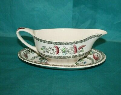 £10 • Buy Johnson & Bros Indian Tree Gravy Boat With Plate