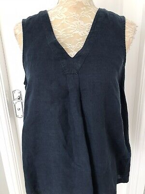 £7 • Buy Ladies Size 12 The White Company 100% Blue Linen Top