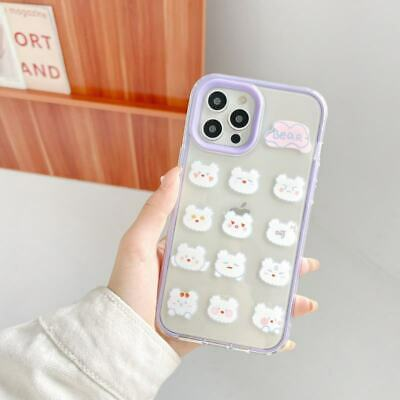 AU7.91 • Buy For IPhone 7 8 11 12 Pro Max X XR 3 In 1 Clear TPU+PC Bear Back Phone Cover Case