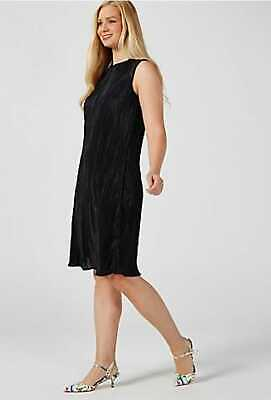 £10.99 • Buy Womens Black Round Neck Pleated Shift Dress Sleeveless Faux Leather Patch 8 - 12
