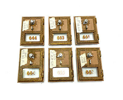 $74.85 • Buy 6 - Vintage Brass Combination Post Office P.O. Mail Box Doors W/ Combinations