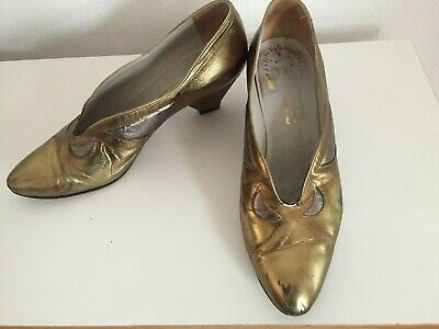 £7.99 • Buy Vintage Metallic Bronze And Pewter-Coloured Leather Shoes, Size 6.5
