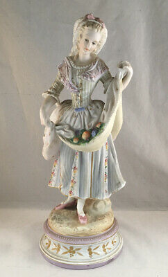 $ CDN100.65 • Buy Antique Victorian French Bisque Porcelain Hand Painted Figurine Woman W/ Flowers