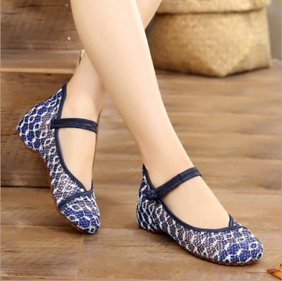 £13.99 • Buy Womens Chinese Style Retro Embroidered Shoes Mary Jane Qipao Non-Slip Flat Shoes