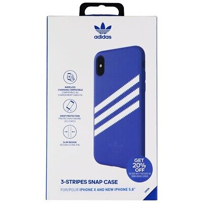 AU16.26 • Buy Adidas 3-Stripe Snap Case For Apple IPhone Xs And IPhone X - Blue And White