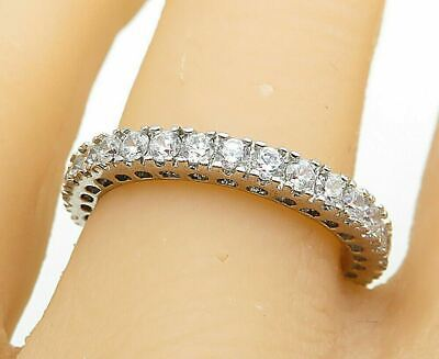 £1.64 • Buy 925 Sterling Silver - Sparkling Cubic Zirconia Eternity Band Ring Sz 7 - R10111