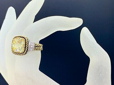 $ CDN25.16 • Buy Antique Style Silver Gold Plated Ring Yellow Crystal Size 7,5 Lia Sophia Signed