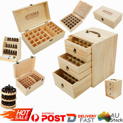 AU17.99 • Buy Aromatherapy Essential Oil Storage Box Wooden Case Container Holder 25-75 Slots