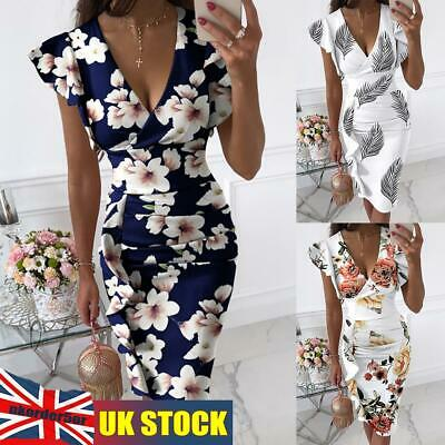 £13.99 • Buy Womens Summer Casual Sexy Plus Size Bodycon Floral Midi Long Dress Evening Party