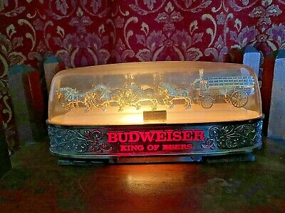 $ CDN13.22 • Buy Vintage BUDWEISER BEER Clydesdale Horses Wagon Lighted Sign W/ Dome Top #004-124