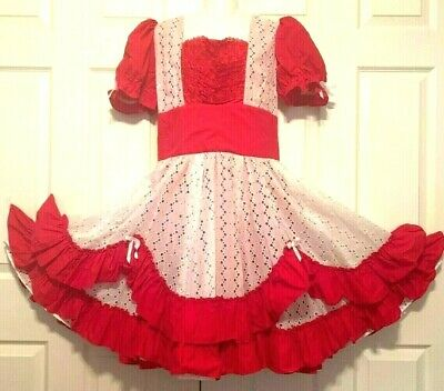 $50 • Buy SQUARE DANCE 1 PC DRESS Red And White Lacy Medium
