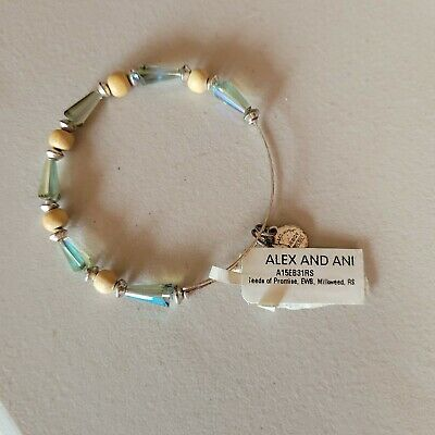 AU12.91 • Buy Alex And Ani Seeds Of Promise Glass Beaded Silver Expandable Bangle Bracelet New