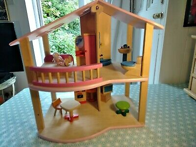 £39 • Buy Pintoy John Crane Contemporary Wooden Dolls House With Furniture And Dolls - VGC