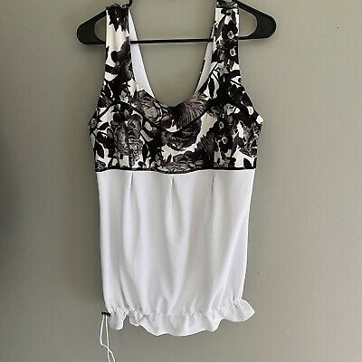 $ CDN24.80 • Buy LULULEMON Size 12 Top Floral Pattern Black And White