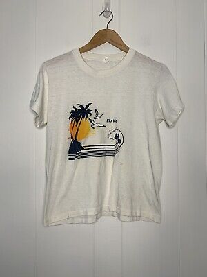 $ CDN27.69 • Buy Vintage 70s 80s Florida Tourist T Shirt 50/50 Small Made In USA Crop Babydoll