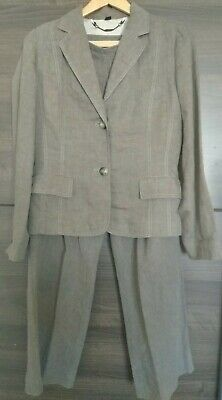 £10.30 • Buy Boden Brown Pure LINEN Jacket And Wide Leg Trousers Suit Size 12 R