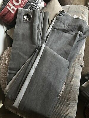 """£8 • Buy Fully Lined Grey Eyelet Curtains By Next. W64"""" L89"""""""