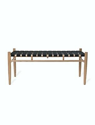 £230 • Buy Woven Black Pale Ash Wooden Hall Bedroom Fully Assembled Hall Porch Seat Bench