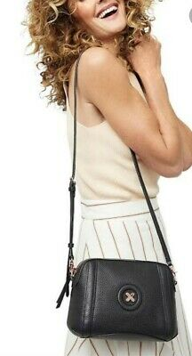 AU71 • Buy Mimco Fantasy Black & Rose Gold Leather Crossbody Hip Bag. Great Condition.