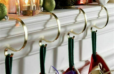 £9.99 • Buy 4 Gold Christmas Stocking Hook Hangers Mantel Fireplace Clips Holders